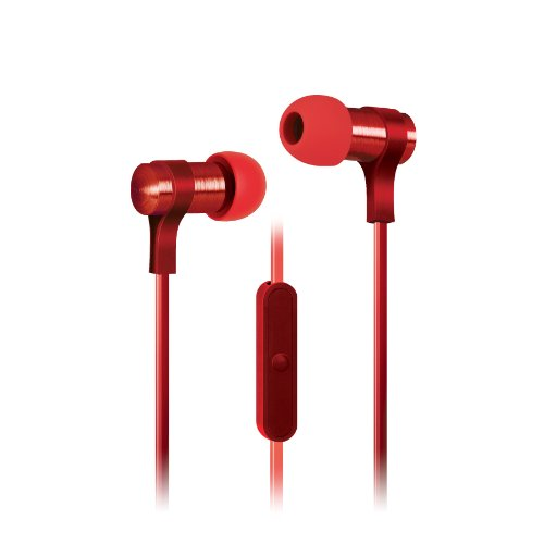 Urban Beatz 2-Tone Flat Cable Earbuds With Mic - Red (Ub-Em400-600)