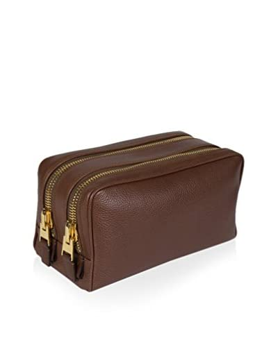 Tom Ford Men's Pebbled Leather Double Zippered Toiletry Bag, Brown