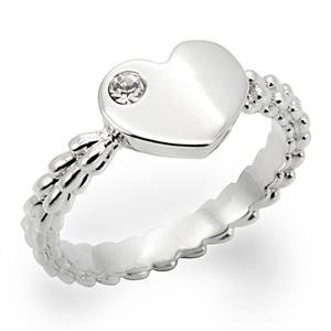 Lovely Heart with Round Cut Clear CZ Accents and Beaded Style Shank Ring