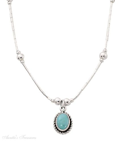 Sterling Silver Choker Necklace Turquoise Concho Pendant Beads