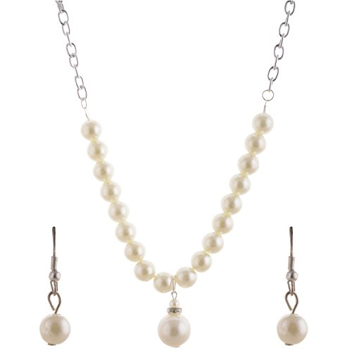 Mask Fashions Silver Metal Pearl Jewellery Set For Women