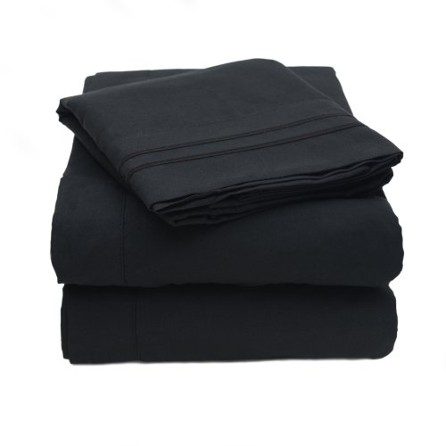 Why Choose 1500 Thread Count 4pc Bed Sheet Set Egyptian Quality Deep Pocket -Queen, Black