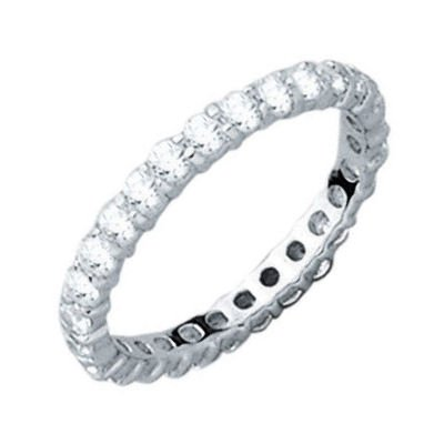 Sterling Silver Clear Cubic Zirconia 2 mm Eternity Wedding Band Ring - Size 5