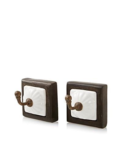 A. Sanoma Inc. Set of Two Ceramic & Iron Hooks, White/Antique Brass