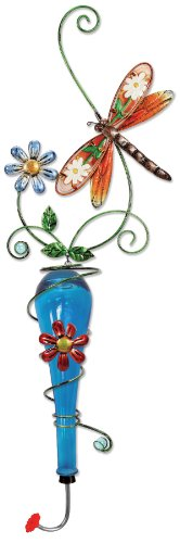 Sunset Vista Design Studios Colored Glass and Metal Hanging Hummingbird Feeder, Dragonfly