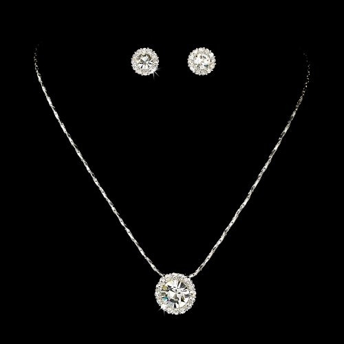 Silver Clear Crystal Rhinestone Pendant Bridal Wedding Necklace Earring Set