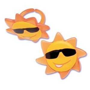 Summer Sunshine Sunny Face Sun Cupcake Rings - 24 pcs - 1