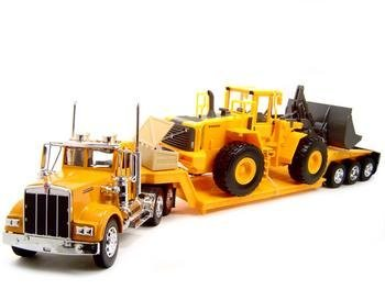 Kenworth W900 Low Boy Trailer Truck with Bulldozer 1:32 Scale (1 32 Die Cast Trucks And Trailers compare prices)