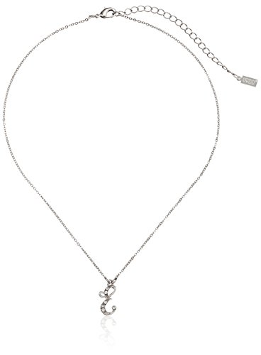 "1928 Jewelry Silver-Tone Crystal Initial ""E"" Pendant Necklace, 16"""