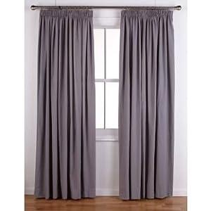 Pencil Pleat Curtains 117x183cm Smoke Grey