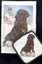 Chocolate Lab Dish Towel & Potholder