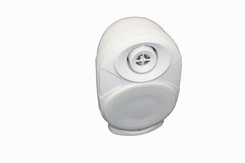"""One Piece 4"""" All-Weather 2-Way, Bookshelf/Wall-Mount/Corner-Mount Speaker 4-Inch 2 Way 8 Ohm/70V Commercial Indoor/Outdoor Speaker White Os-A402Wh"""