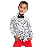 Autograph Pure Cotton Penguin Print Shirt with Bow Tie