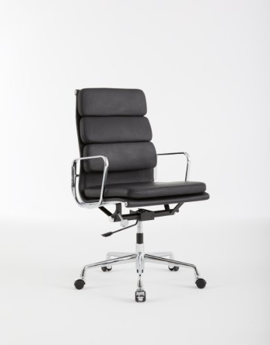 Charles Eames Style High Back Soft Pad Executive Office Chair - Black Leather