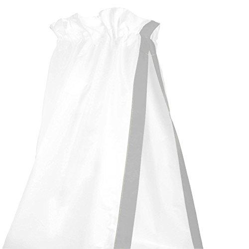 Sugarapple-Baby-Betthimmel-fr-Babybetten-oder-Kinderbetten-150-cm-Hhe-x-200-cm-Lnge-Babybett-Babyhimmel-Vorhang-aus-100-Baumwolle-Uni-grau