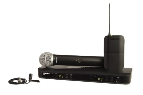Shure Blx1288/Cvl Dual Channel Combo Wireless System With Pg58 Handheld And Cvl Lavalier Microphone, H8