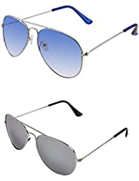 SHEOMY COMBO OF STYLISH SILVER BLUE AVIATOR GOGGLES AND SILVER MERCURY AVIATOR SUNGLASSES WITH 2 BOX - Free Delivery