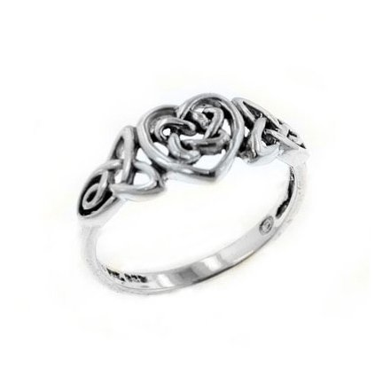 Sterling Silver Celtic Trinity Knot Heart Ring(Sizes 3,4,5,6,7,8,9,10,11,12,13,14,15)