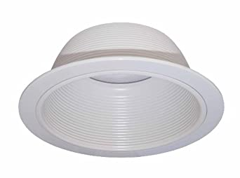 6 inch white baffle recessed can light trim replaces halo. Black Bedroom Furniture Sets. Home Design Ideas