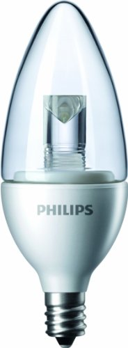 Philips 427799 3.5-Watt (25-Watt) Blunt Tip Candle Led 2700K (Warm White) Light Bulb With Candelabra Base, Dimmable