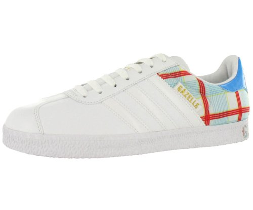 adidas Originals Men's Gazelle 2 Check Sneaker,White/White/Cyan,10.5 M