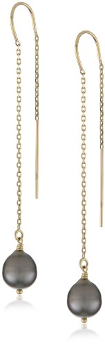 Mizuki 14k Black South Sea Pearl Earrings On Chain
