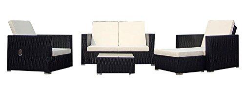 Baidani Gartenmöbel-Sets 10c00038.00001 Designer Lounge-Garnitur Move, 2-er-Sofa, 2 Sesse, 1 Hocker mit Auflage, 1 Couch-Tisch mit Glasplatte, schwarz