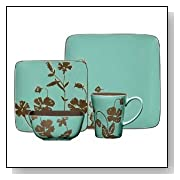 Gibson Montville 16-Piece Square Dinnerware Set, Brown/Teal