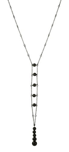 Black Tone Chain with Black Onyx Round Bead Long Drop Necklace, 20