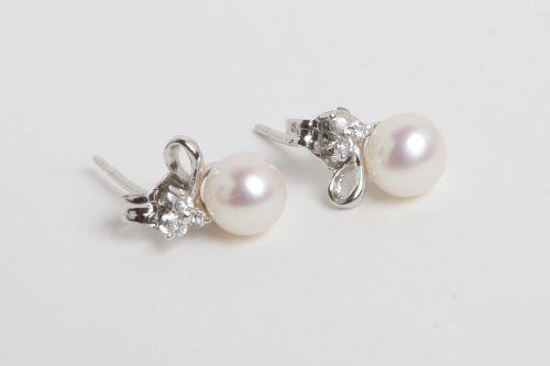 mmpearl(Michael Mikado) 6.0-7.0mm White Pearl Gold-Plated Silver Earrings
