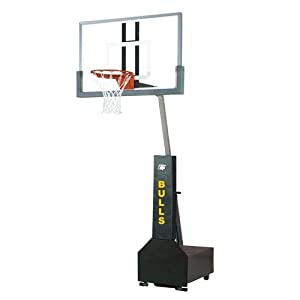 Bison Club Court Portable Basketball System - Glass Backboard by Bison