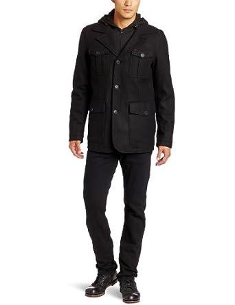 Levi's Men's Wool Melton 4 Pocket Blazer with Zip Out Bib and Hood, Black, XX-Large