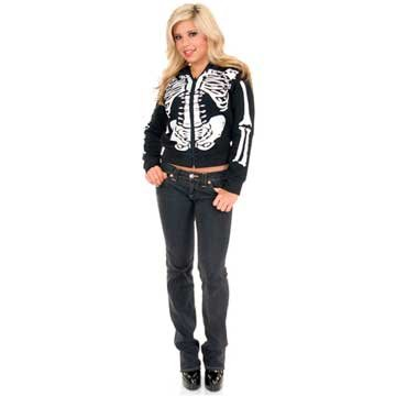 Women's Black & White Skeleton Costume Hoodie
