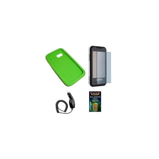Cell Phone Accessories Bundle for AT&T Samsung Eternity SGH A867 (Includes; Green Silicone Rubber Soft Case, Rapid Car Charger, Custom Full Screen Protector, Generation X Antenna Booster)