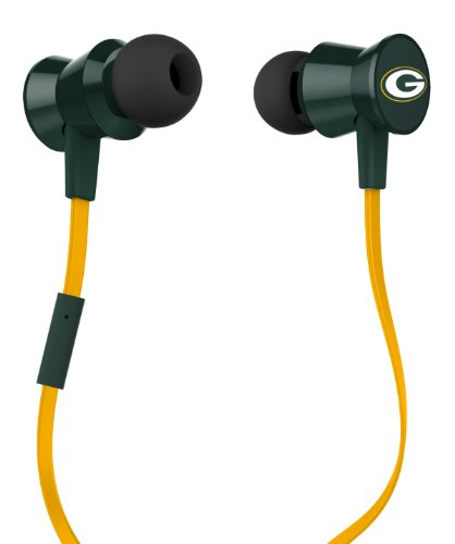 Ihip Nfl-Ptm-Gbp Official Nfl Green Bay Packers Pro Metal Earbuds With Built-In Mic