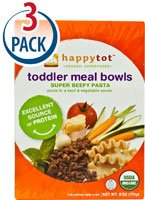 Happy Baby HappyTot Organic Superfoods Toddler Meal Bowls Super Beefy Pasta -- 6 oz Each / Pack of 3