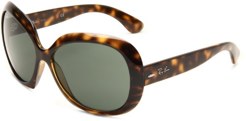 Ray-Ban Women's RB4098 Non-Polarized Jackie OHH II Sunglasses,Tortoise Frame/Green Solid Lens,60 mm