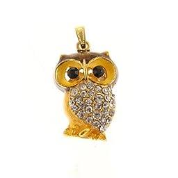 ZP 64GB Golden Owl Pattern Bling Diamond Metal Style USB Flash Drive