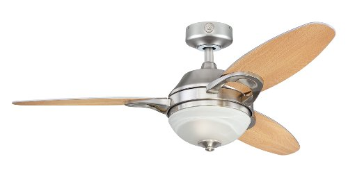 Westinghouse Lighting 7877500 Arcadia Two-Light 46-Inch Reversible Three-Blade Indoor Ceiling Fan, Brushed Nickel with Frosted White Alabaster Glass