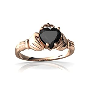Genuine Black Onyx 14kt Rose Gold claddagh Ring - Size 5.5