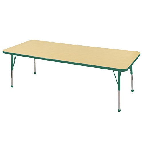 Ecr4kids 24 x 72 rectangular activity table standard legs w ball glides maple top green - Table glides for legs ...