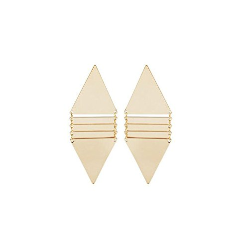 [Darkey Wang Woman Exaggerated Fashion Jewelry Long Section Of The Gold Triangle Simple Geometric] (Rock And Roll Costume Ideas For Men)