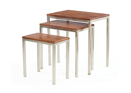 Country Side Table ( Set Of Three ), Brown Wood