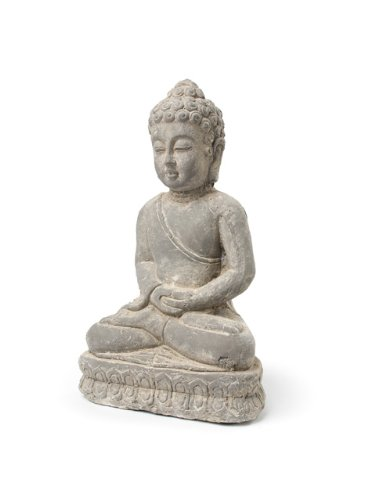 "Grey 9"" Terracotta Small Sitting Buddha Figurine Garden Statue"