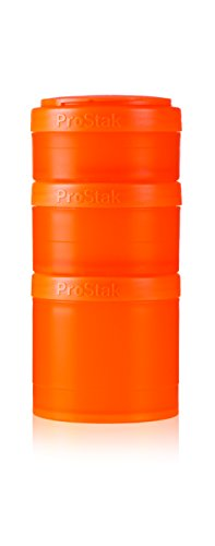 Blenderbottle Prostak Twist N' Lock Storage Jars 4-Piece Expansion Pak, Orange