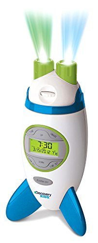 Discovery Kids Rocketship Projection Alarm Clock (Green, Blue, & White)