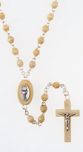 Rosary - First Communion - 4mm Natural Wood Bead and Crucifix - MADE IN ITALY - Gift Box Included