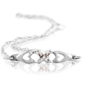Genuine IceCarats Designer Jewelry Gift 10K White Gold Bfly Cz Birthsto Brc W/Box. April Brc W/Box Bfly Cz Birthsto Brc W/Box In 10K White Gold