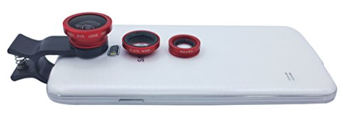 Lesung®Universal 3 In 1 Clip On Fish Eye Lens+Macro+Wide Angle Lens With Black+White Clips For Iphone 4 4S 5 5S 5C Itouch Ipad Samsung Galaxy S3/I9300/S4/I9500/Note 1/2/3(Red)