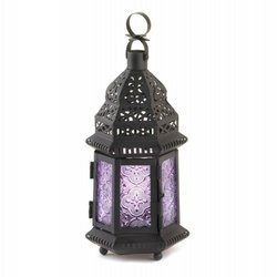 1 X Purple Moroccan Style Lantern by Tom & Co.
